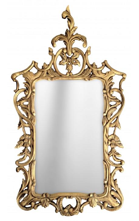 Grand miroir baroque rococo bois dore